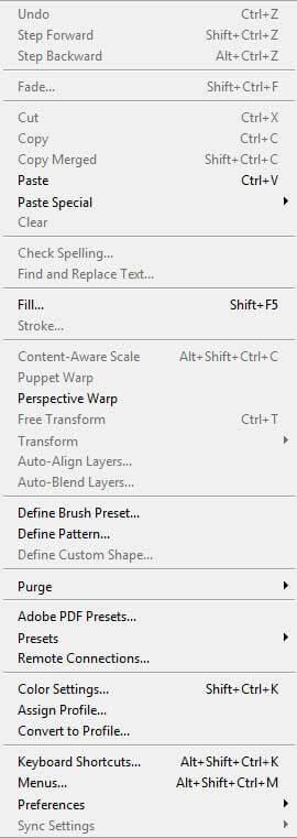 photoshop edit menu