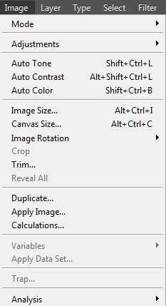 photoshop image menu