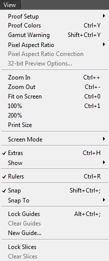 photoshop view menu