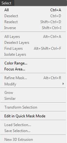 photoshop select menu