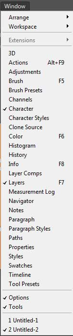 photoshop window menu