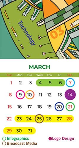 calendar Bapu Graphics March 2020